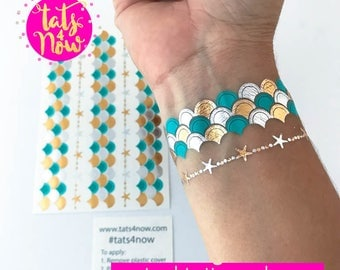 Lets be mermaids // Mermaid scales tattoo bracelet // mermaid bachelorette themed tattoos // mermaid party // by Tats4now