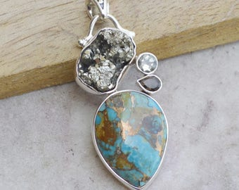 Natural Boulder Turquoise, Smoky Quartz, Green Amethyst, Pyrite Gems Pendant,  925 Sterling Silver Jewelry,  Birthstone Gift Chain Necklace