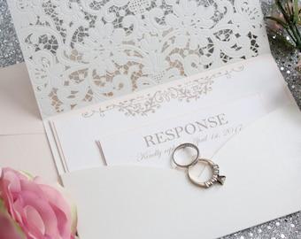 Blush Wedding Invitations, Wedding Invitations, Luxury Wedding Invitations, Laser cut wedding invitation, Blush, cream, DEPOSIT