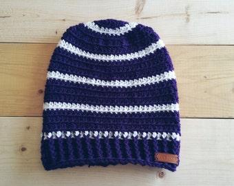 Huskies Inspired, Purple and White Crochet Beanie