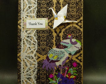 Thank You Card/ Origami Card/ Origami Crane and Rice Paper Cutout Card/ Hand Made Greeting Card/ Peace Love