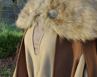 Complete winter outfit for women, viking inspired- cap and/or dress and/or cloak.