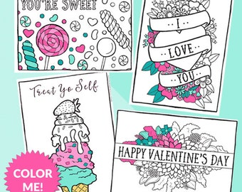 Valentine's Day Coloring Pages, Printable Valentine Coloring For Kids, Adult Coloring, Printable Valentines, Valentine's Coloring Activity