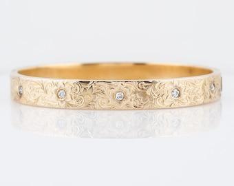 Antique Bangle Bracelet Victorian .25 Old European Cut Diamonds in 14k Yellow Gold