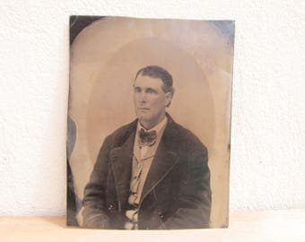 Antique full plate tintype, antique portrait photograph of a middle-aged man, collectable collodion image