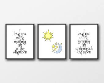 "Set of 3 - INSTANT DOWNLOAD 8X10"" printable digital art - Skinnamarink song - Sun,moon and stars - Typography - Baby - Nursery - Play room"