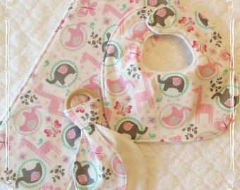 3 piece set, baby bib, wooden teether & burp cloth, baby girl gift set, pink giraffes and gray elephants,* ready to ship