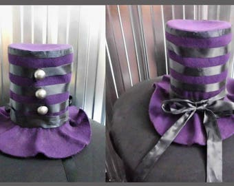 Bibi Hat, style Top Hat, Violet felt-tip - Recycled - Handmade - One of a Kind -