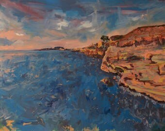 Large Original Mixed Media Landscape Painting. 36x48 HD Canvas Bars. San Diego California West Coast Cliffs Sunset by ThienArt