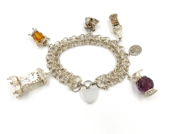 Sterling Silver Charm Bracelet With Nuvo Charms + Others | 47.7 Grams