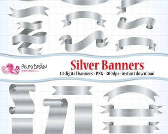 Digital silver banners clip art. Commercial & personal Use. Instant Download. scrapbook clipart banner ribbon ribbons metallic bridal label.