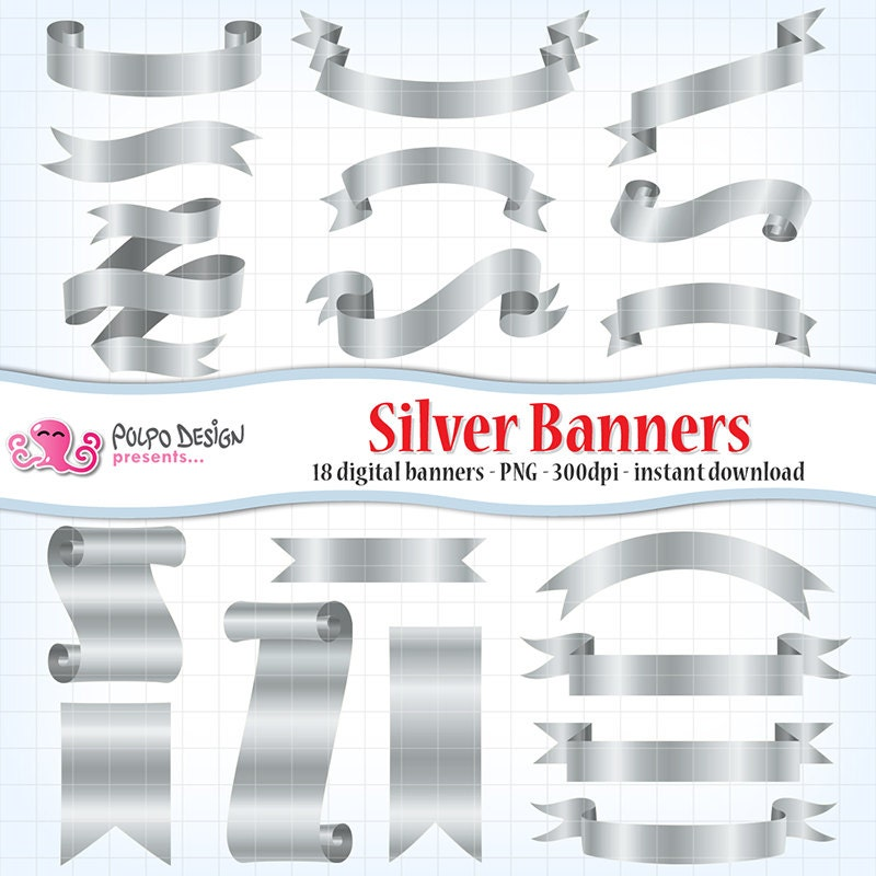 Digital silver banners clip art. Commercial & personal Use.
