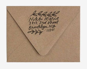 Foliage - Custom Hand Lettered Return Address Stamp