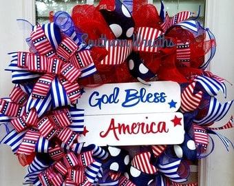Sale/Patriotic Wreath for Front Door/American Flag Door Wreath/ God Bless America Wreath/ July 4th Door Wreath/ Red White Blue  Wreath