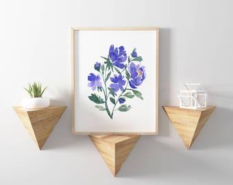 Flower Blooms No.1110 Watercolor Print, Watercolor Flowers, Floral Watercolors, Abstract Watercolor, Wall Art Floral, Watercolor flower Art