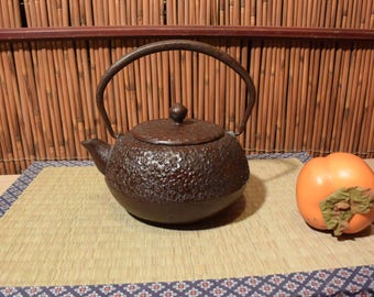 Vintage Japanese Tetsubin Cast Iron Teapot Brown Cherry Blossoms Pattern