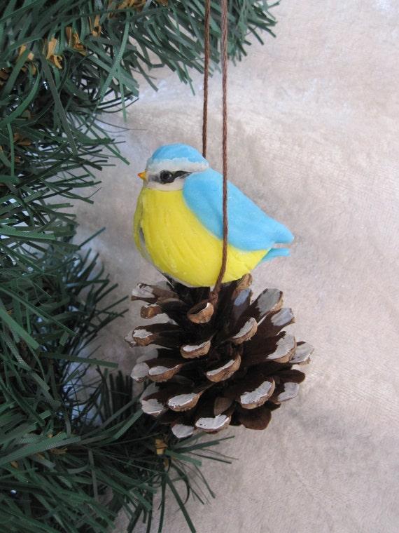 Chickadees and Pine Cone, Christmas tree, bird, winter and snow decoration