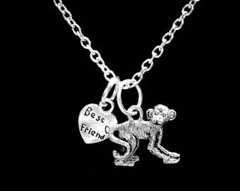 Best Friend Gift, Monkey Necklace, Animal Necklace, Best Friend Necklace Gift, Best Friend Mother's Day Gift Necklace