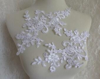 WHITE lace applique, bridal veils applique, wedding applique lace, sewing appliques one pair