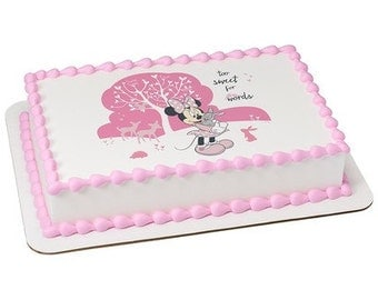 Minnie Mouse Too Sweet Edible Cake or Cupcake Toppers - Choose Your Size