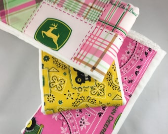 Burp cloth, John Deere, green tractor, farm, baby girl