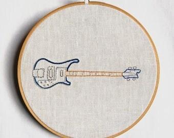 Embroidered Rickenbacker Bass Guitar