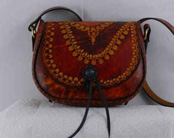 Tooled Latigo Leather Shoulder Bag - Hand-tooled, hand-dyed and hand-stitched with inner pocket
