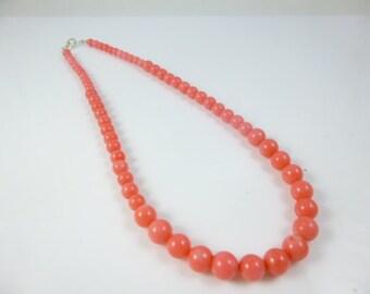 Coral Necklace, Pink Coral Necklace,Pink Necklace, Beaded Necklace, Graduated  Necklace