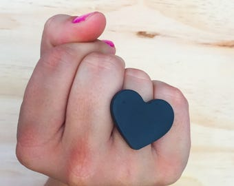 Adjustable Candy Love Heart Ring - Black