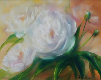 White peony small flower painting ORIGINAL, oil on canvas, 12*16 inches white flowers  Fine Art by Nadia Gurkova