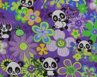 Smiling Panda Bears Trans-Pacific Cotton Fabric MY-15-147 Purple, By the Yard