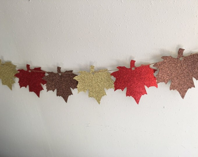 Maple Leaf Banner, Ready to Ship Fall Banner Happy Thanksgiving Banner, Glitter Canadian Banner Decoration, Fall Leaves Banner