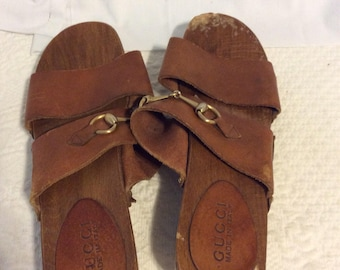 Vintage Gucci wood leather clogs size 8