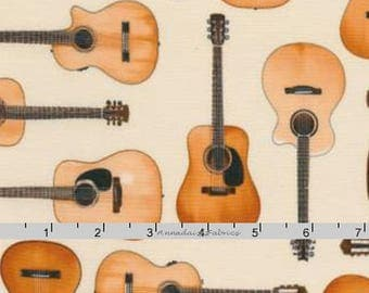 Guitar Fabric, Guitar Quilt Fabric, Robert Kaufman In Tune 15661, Studio RK, Classical Acoustic Guitar Fabric, Music Quilting Cotton Yardage