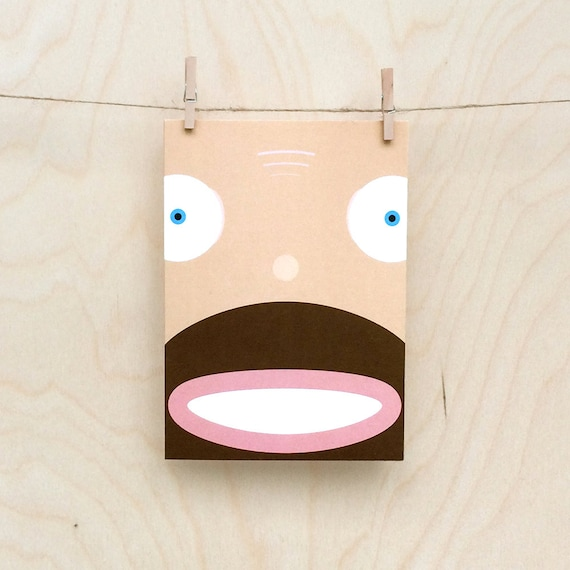 funny beardy  baldy face card,  Funny beard card, Funny bald card