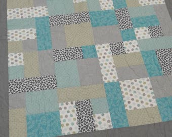 Gray, blue and green baby boy handmade lap quilt
