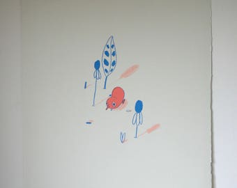 SALE* Peach & Blue Little Blob Screen Print