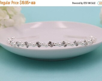 Rhinestone Crystal Pearl Flower Girl Headband, wedding headband, wedding headpiece, rhinestone tiara, flower girl tiara 260163150