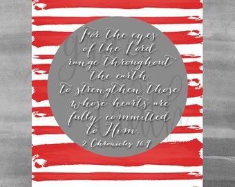 2 Chronicles 16:9 chalkboard print || Encouragement || Scripture || Home Decor