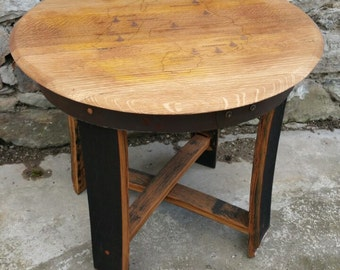 Whisky Barrel stave table with Islay whisky distillery map-whiskey table - recycled furniture - whiskey furniture - gift for home