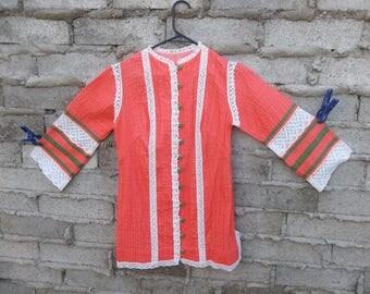 Vintage Mexican Blouse 1960s Prairie Folk Peasant Country Lace Mad Men Era Peachy Neon Hippie Boho Latin sz Medium