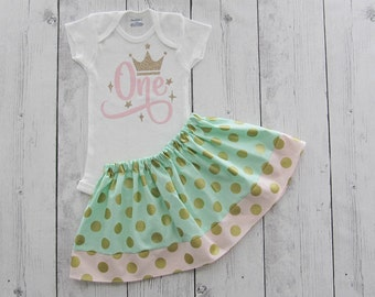 Princess One First Birthday Outfit in Pink, Gold and Mint Polka Dot - twirl skirt, girl birthday outfit, pink mint gold, polka dot,