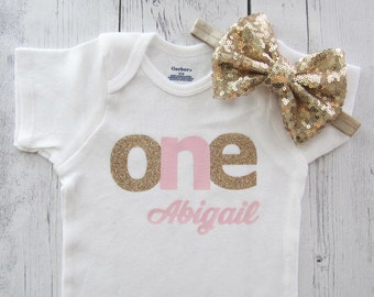 First Birthday Onesie for Girl - pink gold, baby girl first birthday outfit, cake smash, first birthday shirt, pink gold one shirt