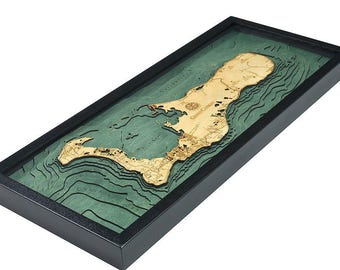 Grand Cayman Wood Carved Topographic Map