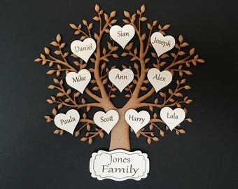 Wooden MDF Family Tree with personalised engraved hearts & family name