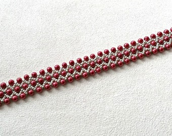 handmade red pearl and silver bead woven bracelet