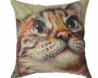 Adorable Tabby Cat Face - Pillow Cover