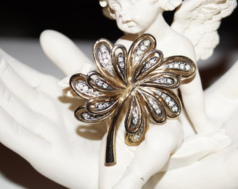 Vintage Brooch Leaf Bloom Rhinestones