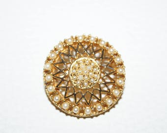 50s 60s Brooch Perals Gold
