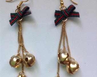 Vintage Christmas bells gold tone pierced earrings